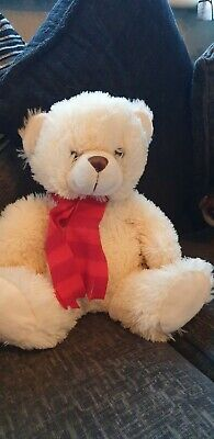 £4 • Buy Cuddle Time White Teddy Bear Soft Toy In Scarf