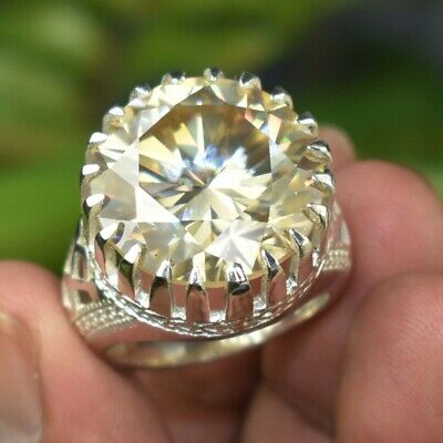 AU72.11 • Buy RARE & HUGE 25.90 Ct Champagne Diamond Solitaire Ring Great Shine WATCH VIDEO