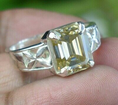 AU133.52 • Buy 4.75 Ct Champagne Solitaire Ring In Emerald Cut Great Shine & Bling WATCH VIDEO