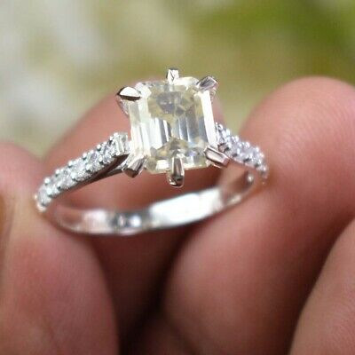 AU1.32 • Buy 1.20 Ct Off White Diamond Ring In Emerald Cut With Accents, WATCH VIDEO