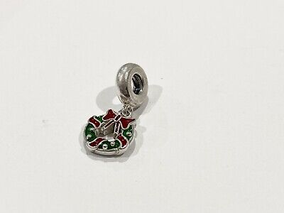 AU39 • Buy Authentic Pandora Green Red Holiday Wreath Ice Hanging Charm #796362ENMX Retired