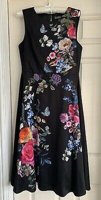 £16.50 • Buy Oasis Dress Size 12 Black And Floral Flared Midi
