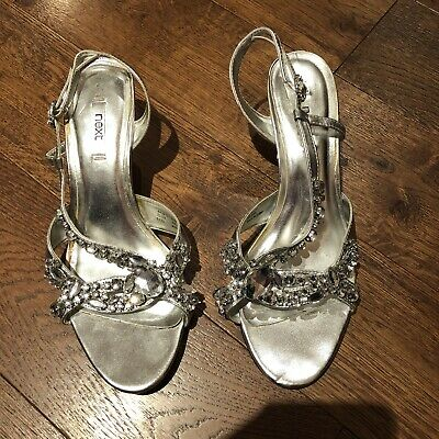 £1.70 • Buy Next Ladies Silver Sandals Size 6 Silver Jewelled Embellished Wedding Party