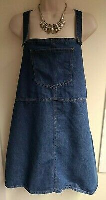 £8 • Buy Ladies New Look Blue Denim Pinafore Strappy Dress Size Uk 14-16