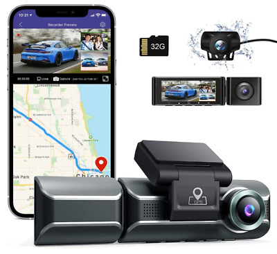 AU169.99 • Buy AZDOME 4K Dash Cam GPS WIFI Single Front, 1440P QHD Front And Inside Rear 1080P