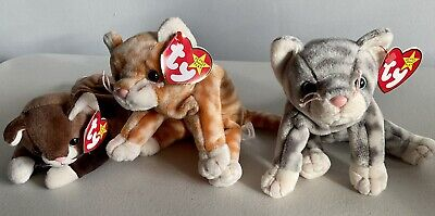 £2 • Buy Ty Beanie Babies Bundle - Cats - Pounce Amber & Silver