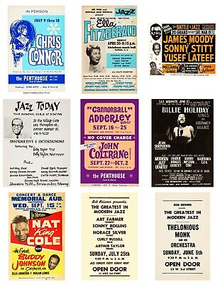 $64.99 • Buy Lot Of (9) 1950s-60s Jazz Ella Billie 13 X 17 Reproduction Concert Posters