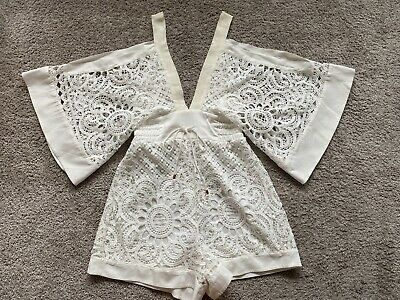 AU100 • Buy ALICE MCCALL White Keep Me There Lace Playsuit Romper S 8 10