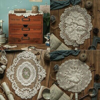 AU11.05 • Buy Vintage Embroidered Lace Tablecloth Dining Table Runner Cover Wedding Home Decor