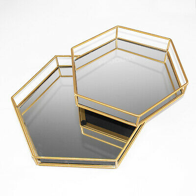 £27.99 • Buy 2 X Gold Hexagon Mirrored Glass Decorative Trays Plates Candle Perfume Vanity