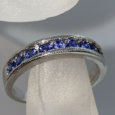 £14 • Buy Sterling 925 Silver Tanzanite Eternity  Ring Size P