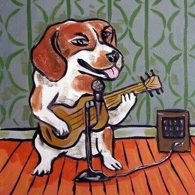 Beagle Guitar Picture Animal Dog Art Tile Coaster Gift • 11.70£