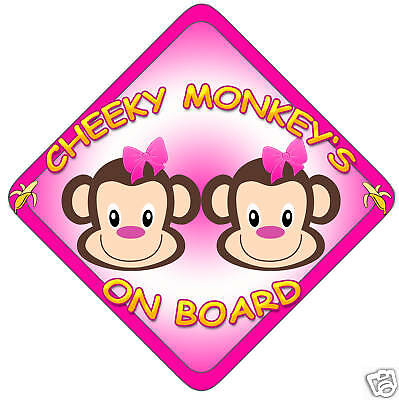 £3.99 • Buy Car Sign(Child On Board) Cheeky Monkey 's Girl/Pink