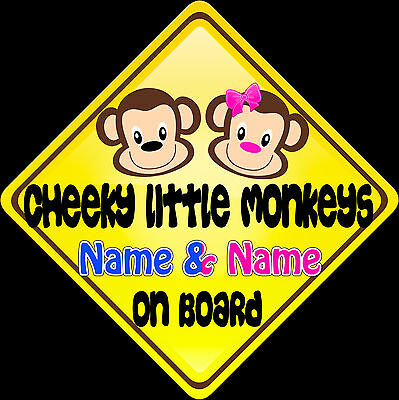 £3.99 • Buy Car Sign(Child On Board) Cheeky Monkeys Boy/Girl Yellow , Blue & Pink Text