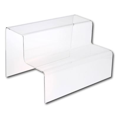 £6.90 • Buy 2 Step Small Clear Acrylic Plastic Retail Riser Counter Display Stands
