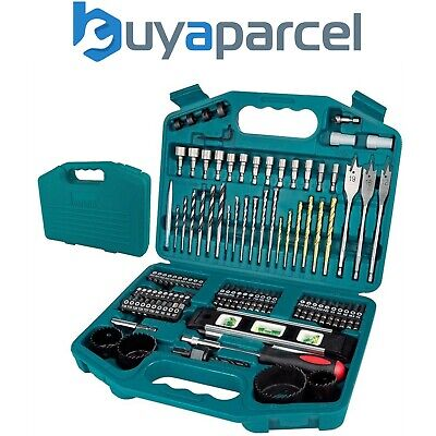 View Details Makita 100 Piece Power Drill Bit Set Screwdriver Set - Holesaw Masonry HSS PZ2 + • 19.99£