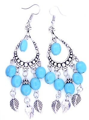 £2.84 • Buy Boho Style 9.5cm Long Silver And Turquoise Drop And Leaf Chandelier Earrings