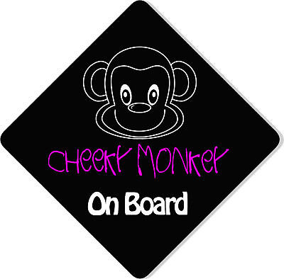 £3.99 • Buy Cheeky Monkey Pink/Black Child/Baby On Board Car Sign