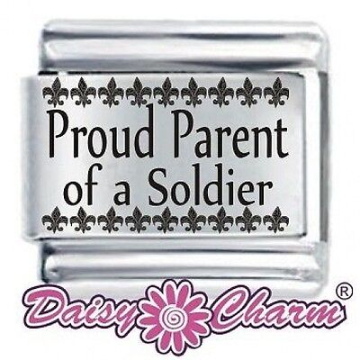 PROUD PARENT OF A SOLDIER * DAISY CHARM For 9mm Italian Modular Charm Bracelets • 3.65£