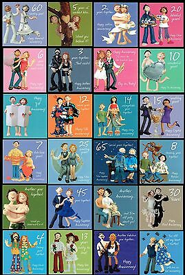 £2.35 • Buy 1st To 70th WEDDING ANNIVERSARY CARD 10th 25th 30th 40th 50th 60th And Many More