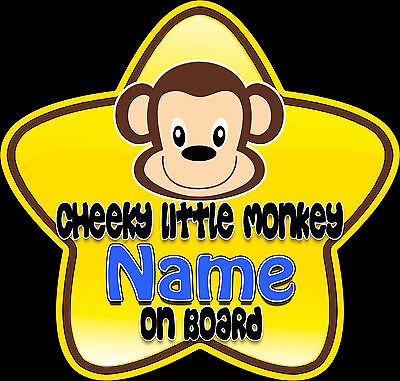 £3.99 • Buy Personalised Star Shaped Baby On Board Car Sign Cheeky Little Monkey ~ Blue