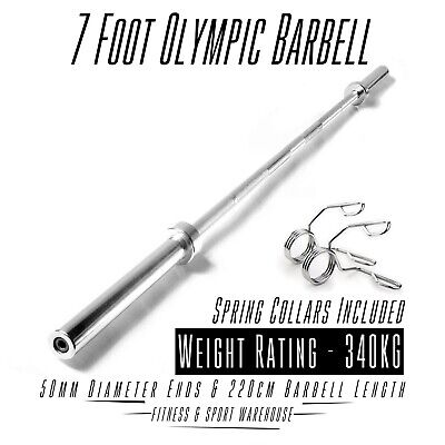 AU182 • Buy 7 Foot Olympic Barbell 7FT 700LB OLY Weightlifting Commercial Gym Weights 220cm