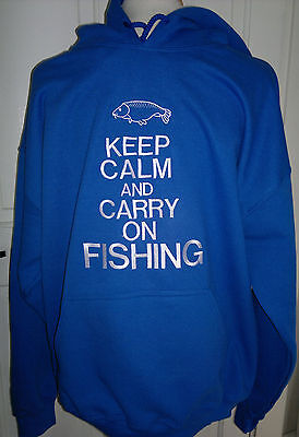 Keep Calm And Carry On Fishing Hoodie Embroidered - 29  Colours - Small  To XXL • 22.99£
