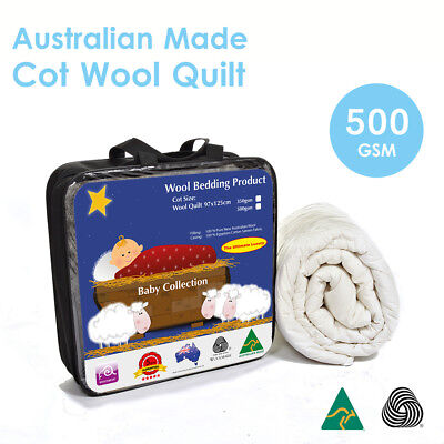 AU59 • Buy Aus Made Baby Cot Pure Wool Quilt Duvet Doona 500GSM-100%Natural Fibre-Baby Gift
