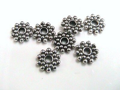 £11.59 • Buy 25 X 8mm Tibetan Silver Daisy Spacer Beads Bead Craft Findings F186