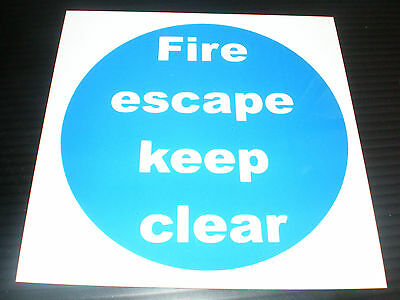 FIRE ESCAPE KEEP CLEAR 100mm X 100mm Sign Or Sticker Fire Exit Emergency Safety • 0.99£