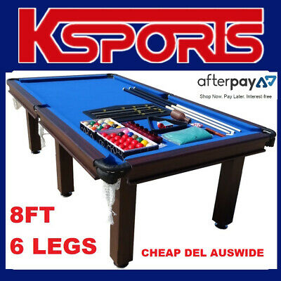 AU695 • Buy POOL TABLE 8FT SNOOKER BILLIARD TABLE BLUE WITH 6 LEGS And LEATHER POCKETS
