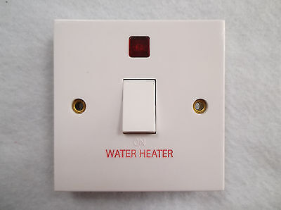 £7.49 • Buy  20amp Double Pole Switch Marked Water Heater With Neon (no Flex Outlet) White