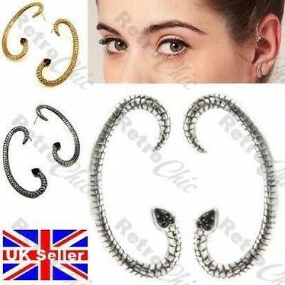 ASOS SNAKE Goth EAR CUFF PAIR EARRINGS Jet Crystal BLACK/ANTIQUE SILVER PLATED • 2.50£