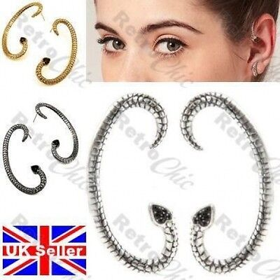 £2.50 • Buy ASOS SNAKE Goth EAR CUFF PAIR EARRINGS Jet Crystal BLACK/ANTIQUE SILVER PLATED