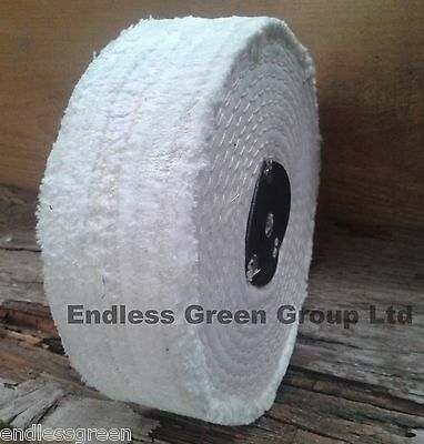 150mm X 40mm - Stitched White Cotton Buffing Wheel - Firm Polishing Mop C150/3  • 15.25£