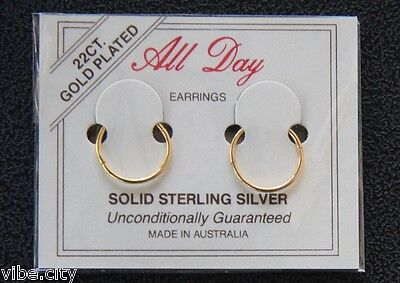 AU8.79 • Buy 22ct Gold Plated Sleepers Hoops HINGED Earrings 5 Sizes! Australia Made!