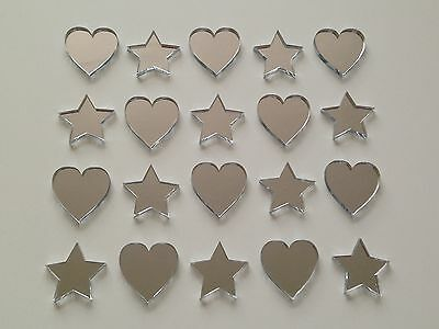 £2.47 • Buy 3 For 2!!! Decorative Hearts & Stars Mirrors Card Embellishments 15/20/25/50mm