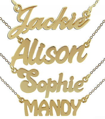 9ct Gold Plated Personalised ANY Name Plate Necklace With Chain In Gift Box • 40£