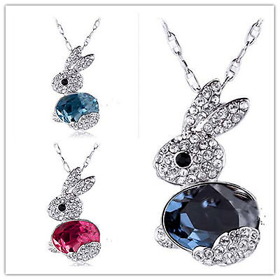 £3.55 • Buy Cute Bunny Rabbit Charm Necklace With Crystal Multiple Choices