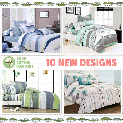AU38 • Buy 2020 New All Size Bed Doona Quilt Duvet Cover Set 100% Cotton Premium Bedding