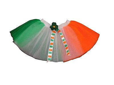 Tutu Skirt Green White Orange St Patrick Day Shamrock Irish Fancy Dress Costume • 13.99£
