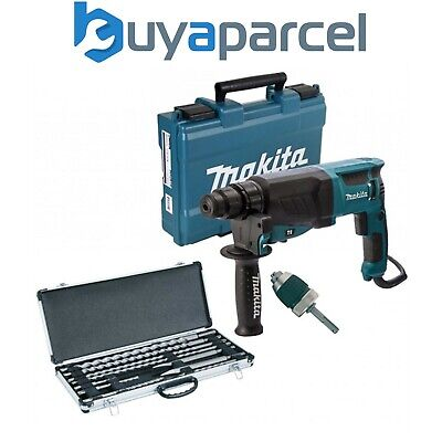 View Details Makita 240v SDS + Rotary Hammer Drill HR2630 Heavy Duty + 10 SDS Bits + Chisels • 141.61£