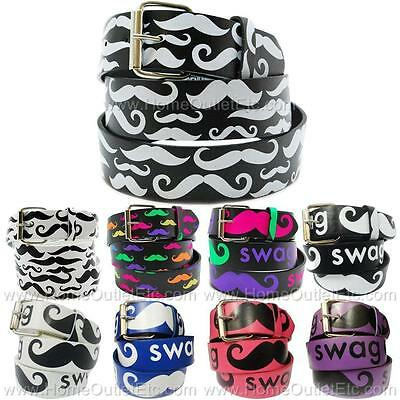 Mustache Printed Leather Belt Removable Buckle Trendy Fashion Unisex Mens Teen • 7.13£