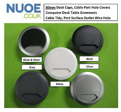 80mm Computer Desk Table Grommet Cable Tidy, Port Surface Outlet Wire Hole Cover • 1.58£