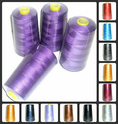 TOP QUALITY SEWING THREAD 120s SPUN POLYESTER, OVERLOCKING 5000 YRDS X 4 CONES • 8.59£