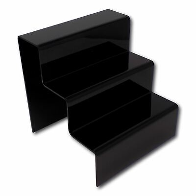 £9 • Buy 1 X 3 Step Tier Large Black Acrylic Perspex Retail Counter Display Riser Stand