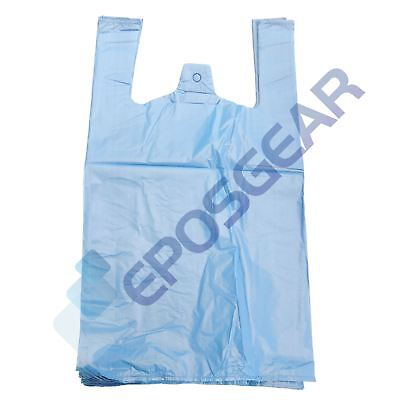 100 Large Blue Strong Recycled Eco Plastic Vest Shopping Carrier Bags 18mu • 5.10£