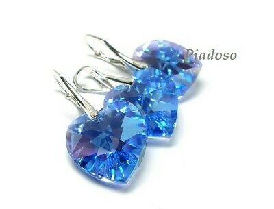 New Swarovski Crystals Genuine Jewellery Set Light Sapphire Ab Sterlin Silver • 49£