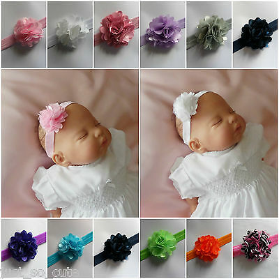 # Baby Girls Headband Hairband Small Flower Soft Elastic Band  0/6 Months # • 1.25£