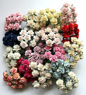 £2.99 • Buy 15mm Mulberry Paper Rose Flowers With Wire Stems For Card Making Craft